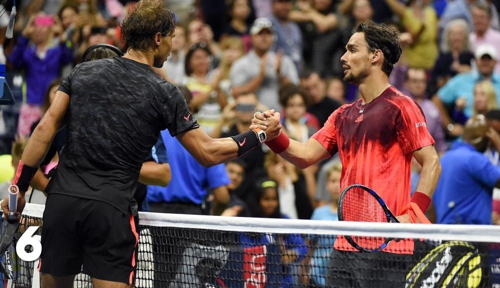 Fabio Fognini și Rafael Nadal la sfârșitul meciului lor de la US Open.