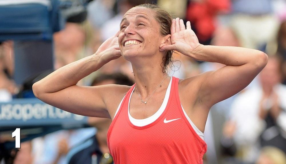 Roberta Vinci la finalul meciului cu Serena Williams de la US Open. Foto: USTA.