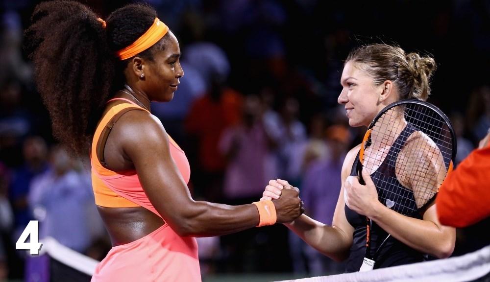 Serena Williams și Simona Halep la sfârșitul meciului lor de la Miami. Foto: Miami Open.