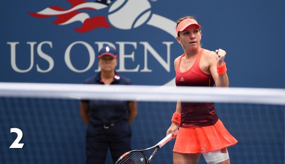 Simona Halep în timpul meciului cu Victoria Azarenka de la US Open. Foto: USTA.