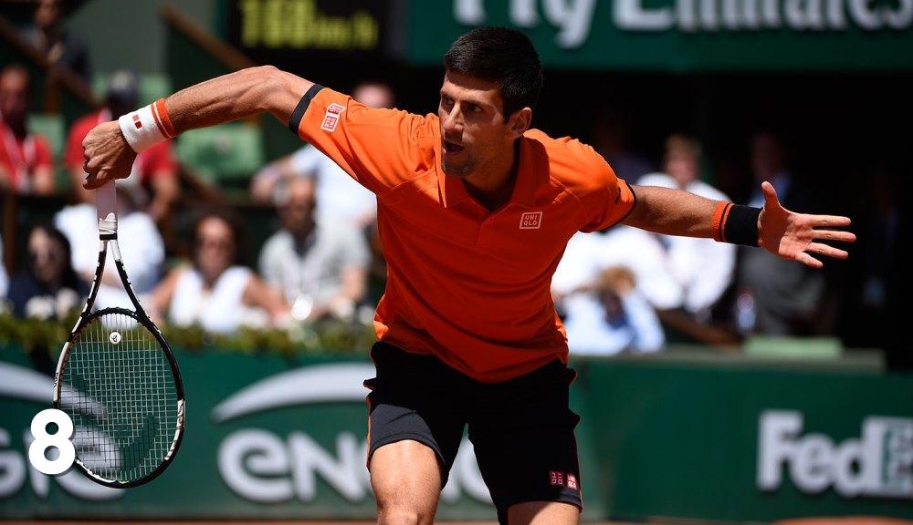 Novak Djokovic în timpul meciului cu Andy Murray de la Roland Garros. Foto: FFT
